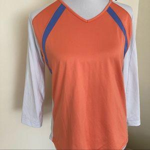 Bolle Sport Orange V-Neck Shirt Perforated L